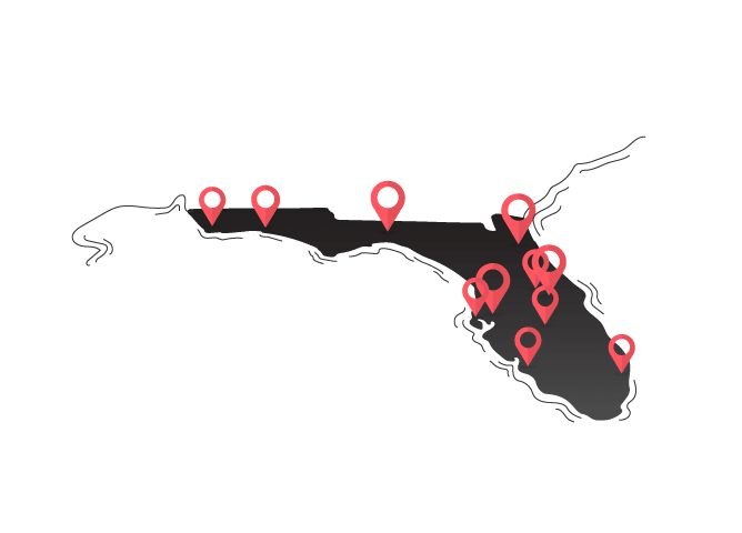 Florida map graphic with multiple pins dropped on cities
